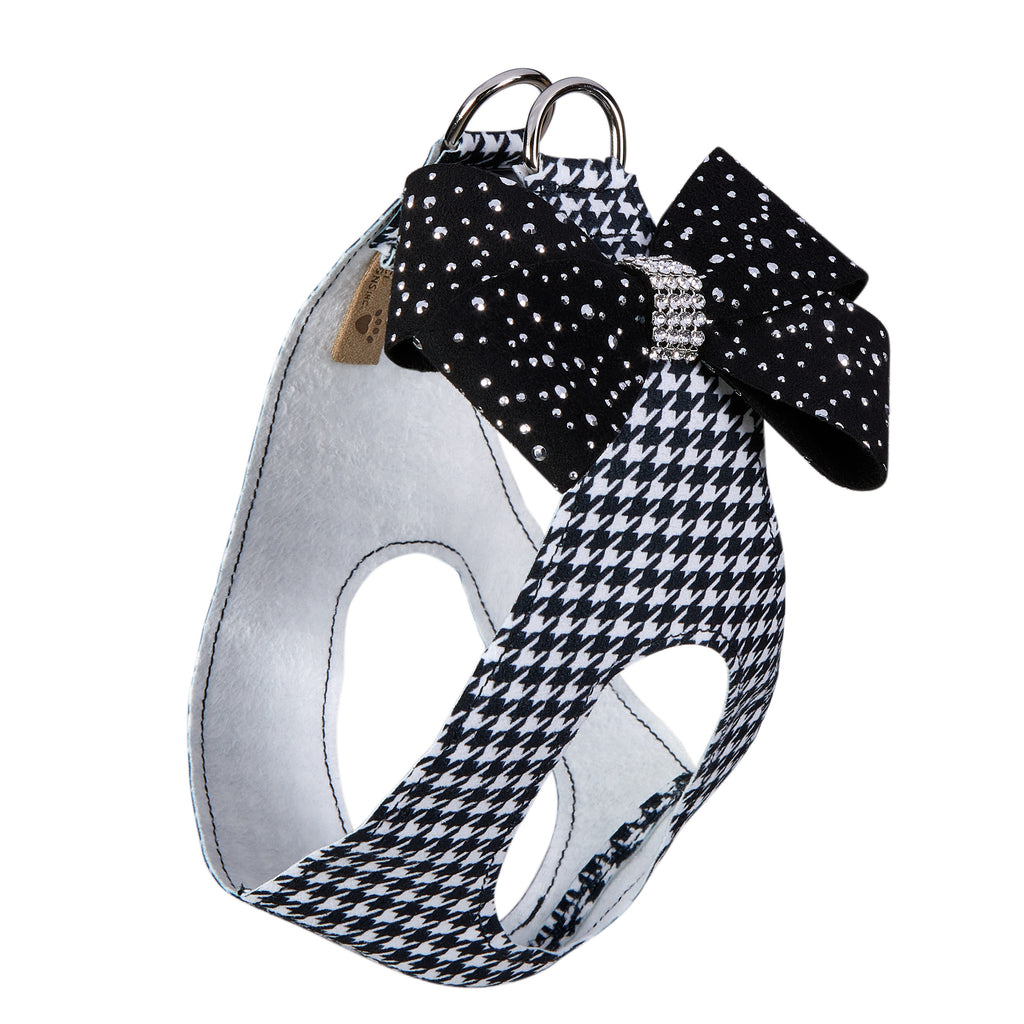 Black & White Houndstooth Nouveau Bow Silver Stardust Genuine Swarovski Crystals Step-In Below-The-Neck CHOKE FREE Luxury Designer UltraSuede Dog Harness
