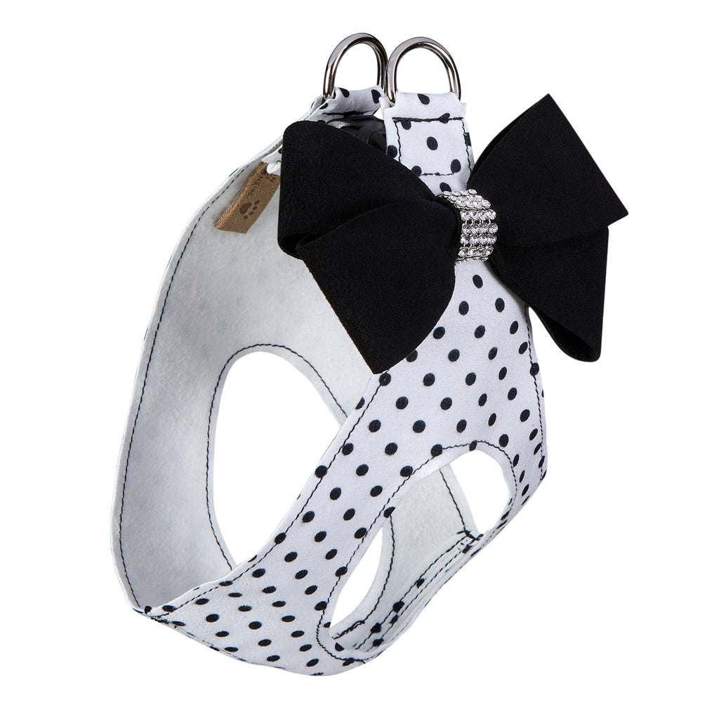 Black & White Polka Dot Black Nouveau Bow Genuine Swarovski Crystals Step-In Below-The-Neck CHOKE FREE Luxury Designer UltraSuede Dog Harness