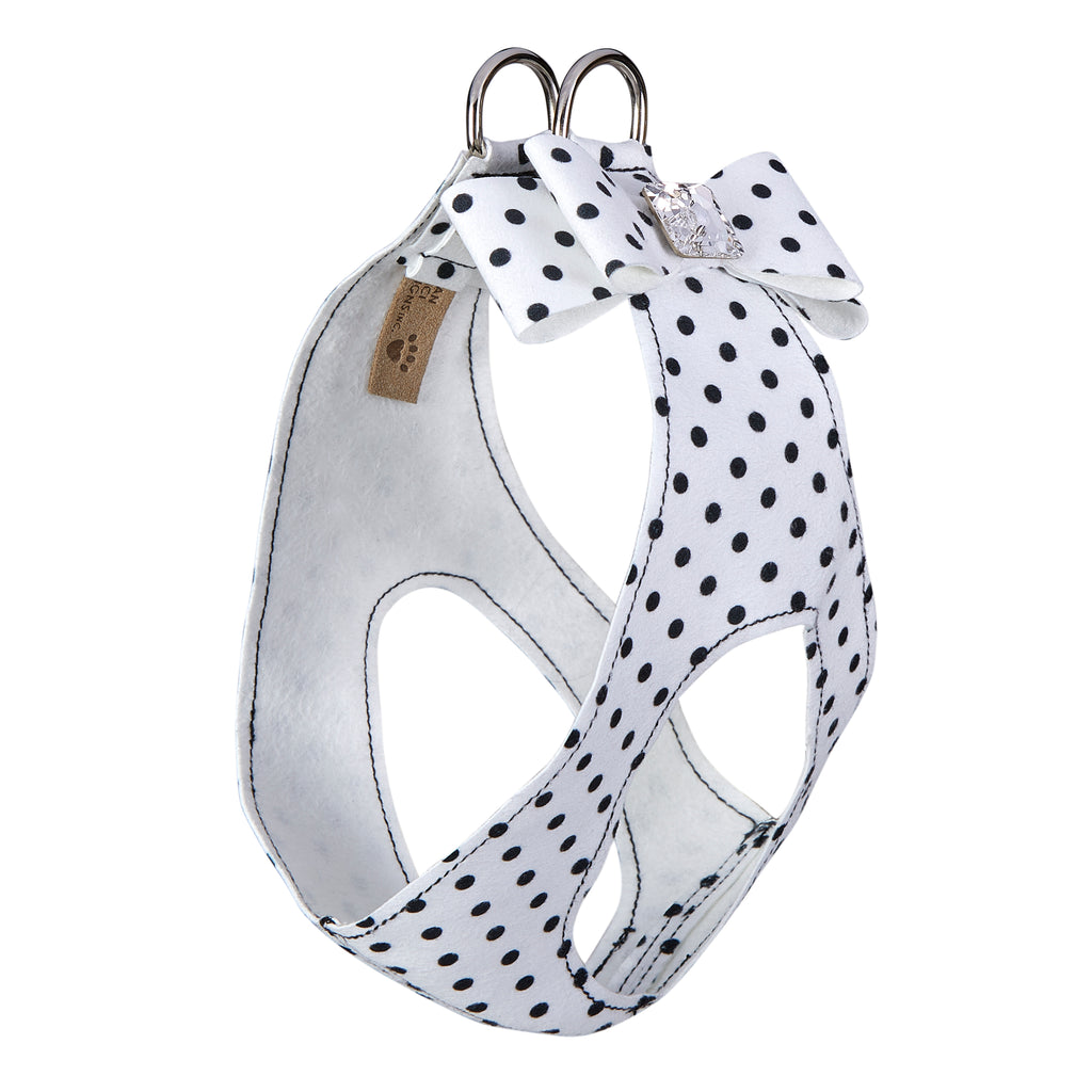 Black & White Polka Dot Big Bow Genuine Swarovski Crystal Step-In Below-The-Neck CHOKE FREE Luxury Designer UltraSuede Dog Harness