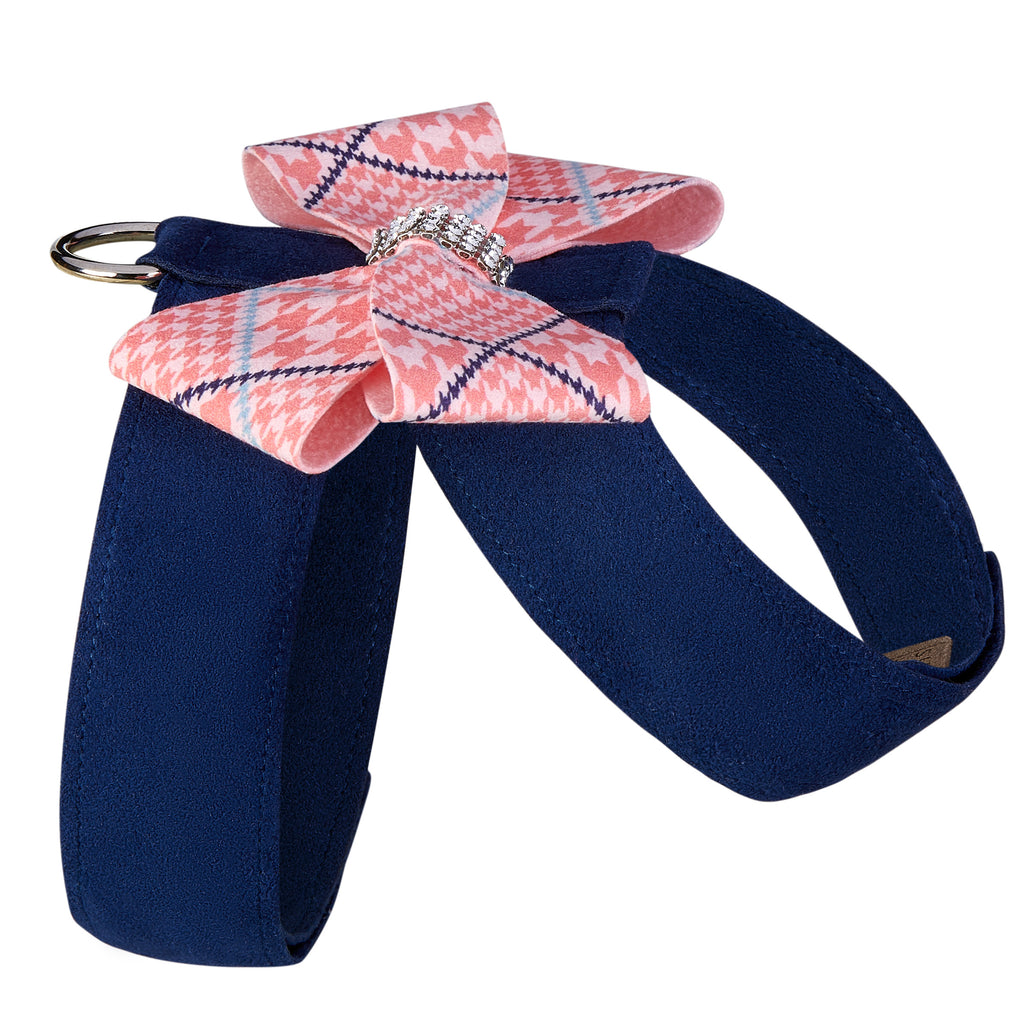 Peaches N' Cream Glen Houndstooth Nouveau Bow UltraSuede Dog Harness