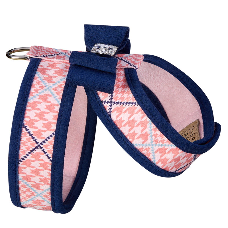 Peaches N' Cream Glen Houndstooth Big Bow Tinkie UltraSuede Dog Harness
