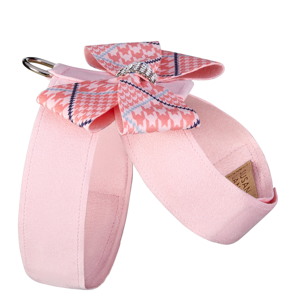 Peaches N' Cream Nouveau Bow Puppy Pink UltraSuede Dog Harness