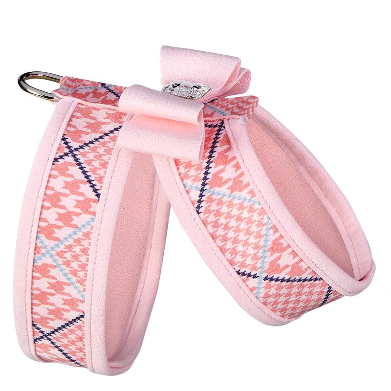 Peaches N' Cream Houndstooth Big Bow & Trim UltraSuede Dog Harness