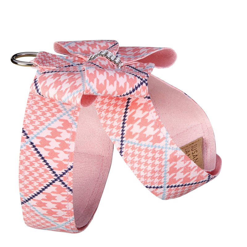 Peaches N' Cream Houndstooth Nouveau Bow UltraSuede Dog Harness