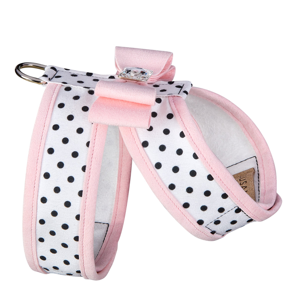 Polka Dot Big Bow Tinkie with Trim UltraSuede Dog Harness