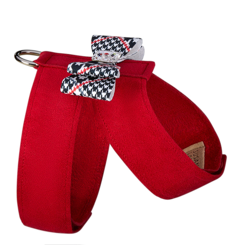 Classic Glen Houndstooth Big Bow Tinkie UltraSuede Dog Harness