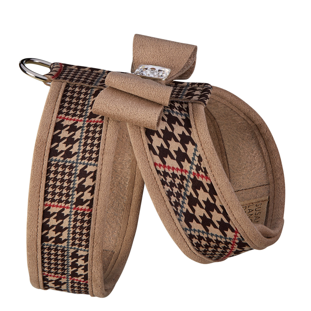 Chocolate Glen Houndstooth Tinkie with Trim UltraSuede Dog Harness