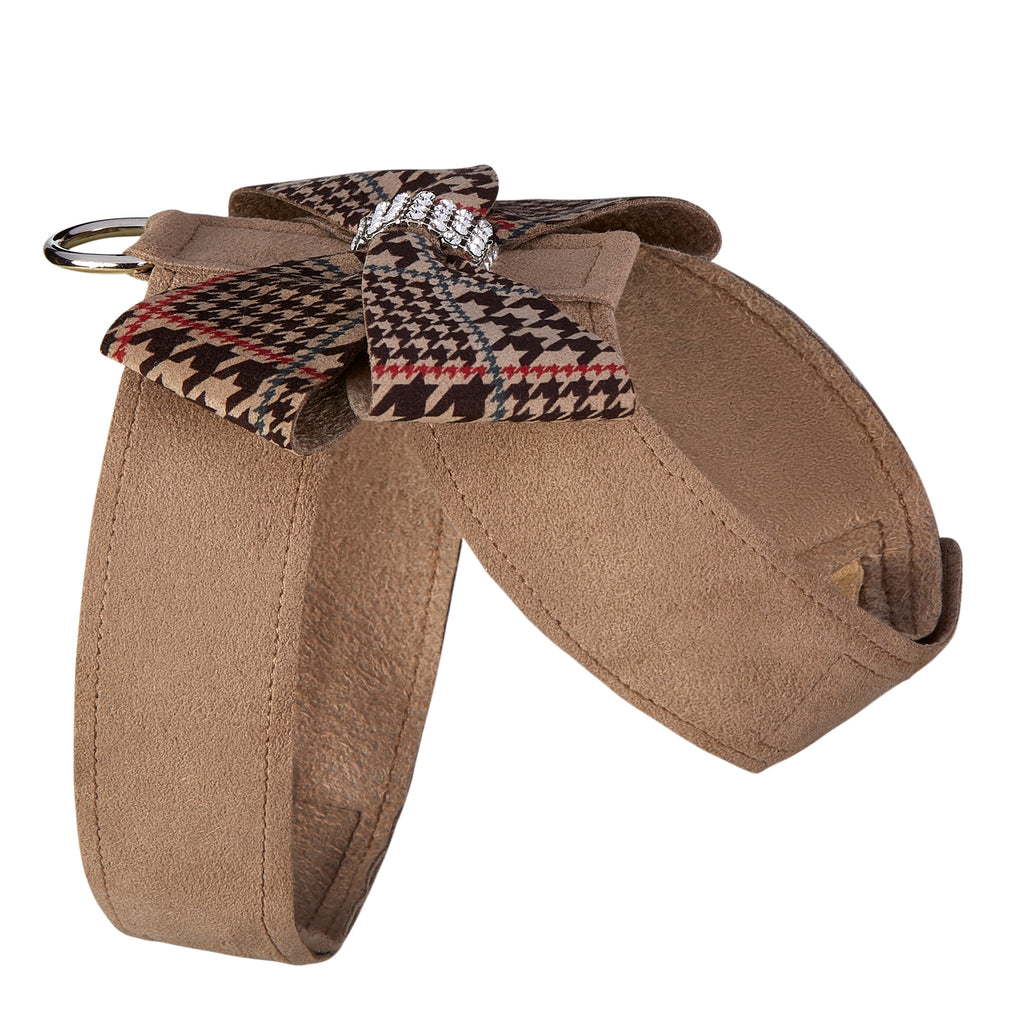 Chocolate Glen Fawn Houndstooth Nouveau Bow UltraSuede Dog Harness