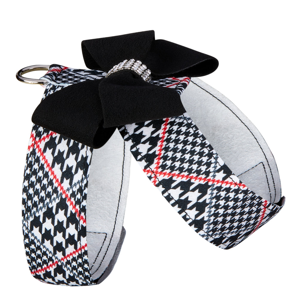 Classic Glen Houndstooth Black Nouveau Bow with Genuine Swarovski Crystals UltraSuede Dog Harness