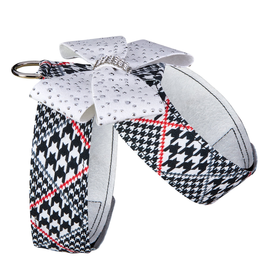 Classic Glen Houndstooth Stardust Genuine Swarovski Crystals Nouveau Bow UltraSuede Dog Harness