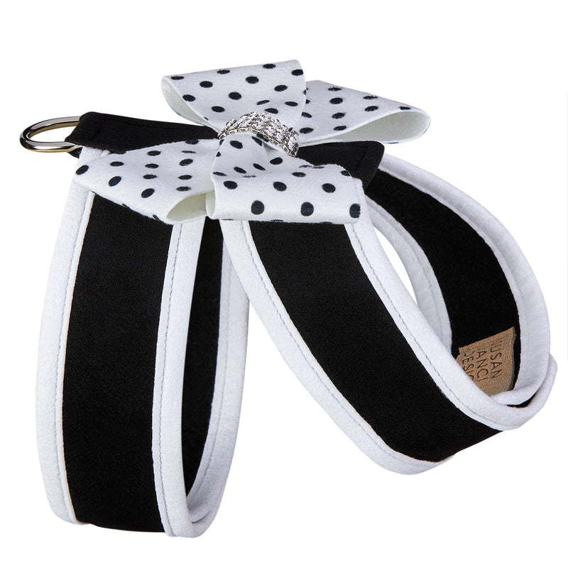Polka Dot Nouveau Bow Tinkie Genuine Swarovski Crystals with Trim Choke-Free UltraSuede Dog Harness