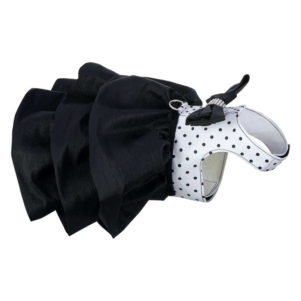 Susan Lanci Designer Black & White Polka Dot Madison Durable Luxurious UltraSuede Dog Harness Dress