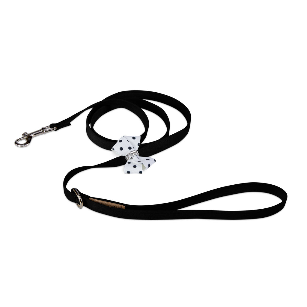 Black & White Polka Dot Nouveau Bow with Genuine Swarovski Crystals UltraSuede Designer Dog Leash