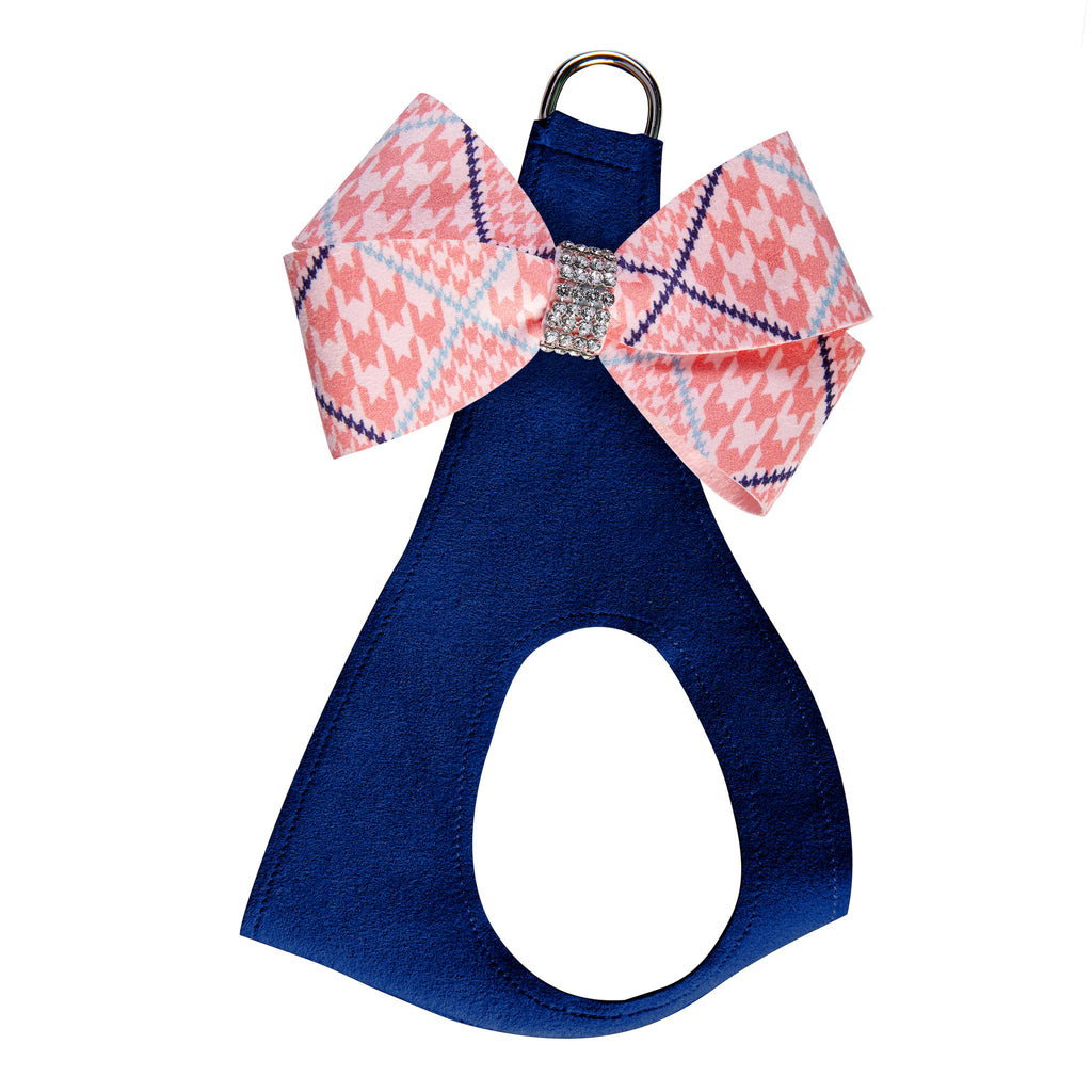 Peaches N Cream Glen Houndstooth Nouveau Bow Genuine Swarovski Crystals Step-In Below-The-Neck CHOKE FREE Luxury Designer UltraSuede Dog Harness