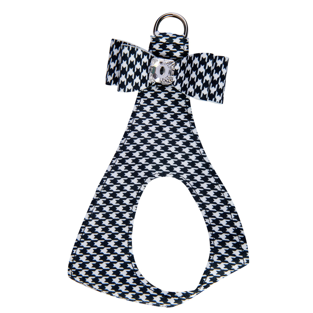 Black & White Houndstooth Big Bow Genuine Swarovski Crystals Step-In Below-The-Neck CHOKE FREE Luxury Designer UltraSuede Dog Harness