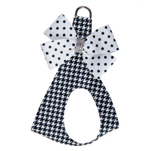 Houndstooth Black & White Polka Dot Nouveau Bow Genuine Swarovski Crystals Step-In Below-The-Neck CHOKE FREE Luxury Designer UltraSuede Dog Harness