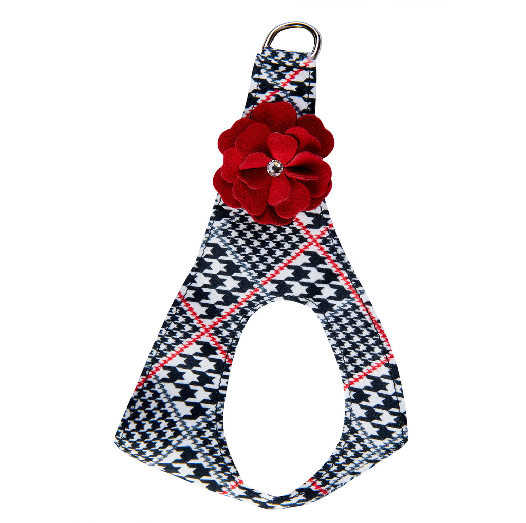 Classic Glen Houndstooth Red Tinkie's Garden Flower Genuine Swarovski Crystals Step-In Below-The-Neck CHOKE FREE Luxury Designer UltraSuede Dog Harness