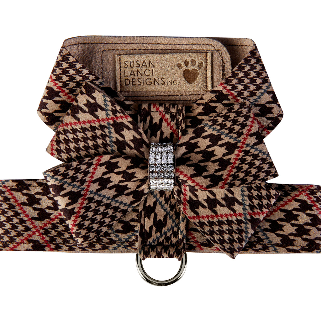Chocolate Glen Houndstooth Nouveau Bow UltraSuede Dog Harness