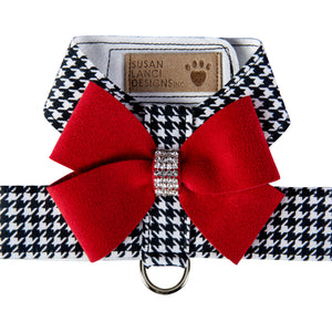 Black & White Houndstooth Red Nouveau Bow with Genuine Swarovski Crystals UltraSuede Dog Harness