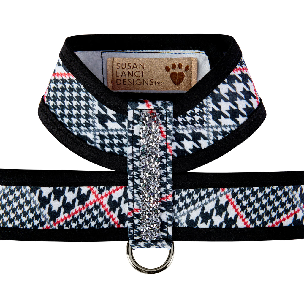 Classic Glen Houndstooth Trim & Crystal Rocks UltraSuede Dog Harness