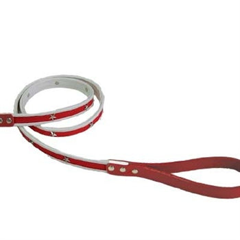 Star Studded American USA Patriotic Patent Leather Dog Leash