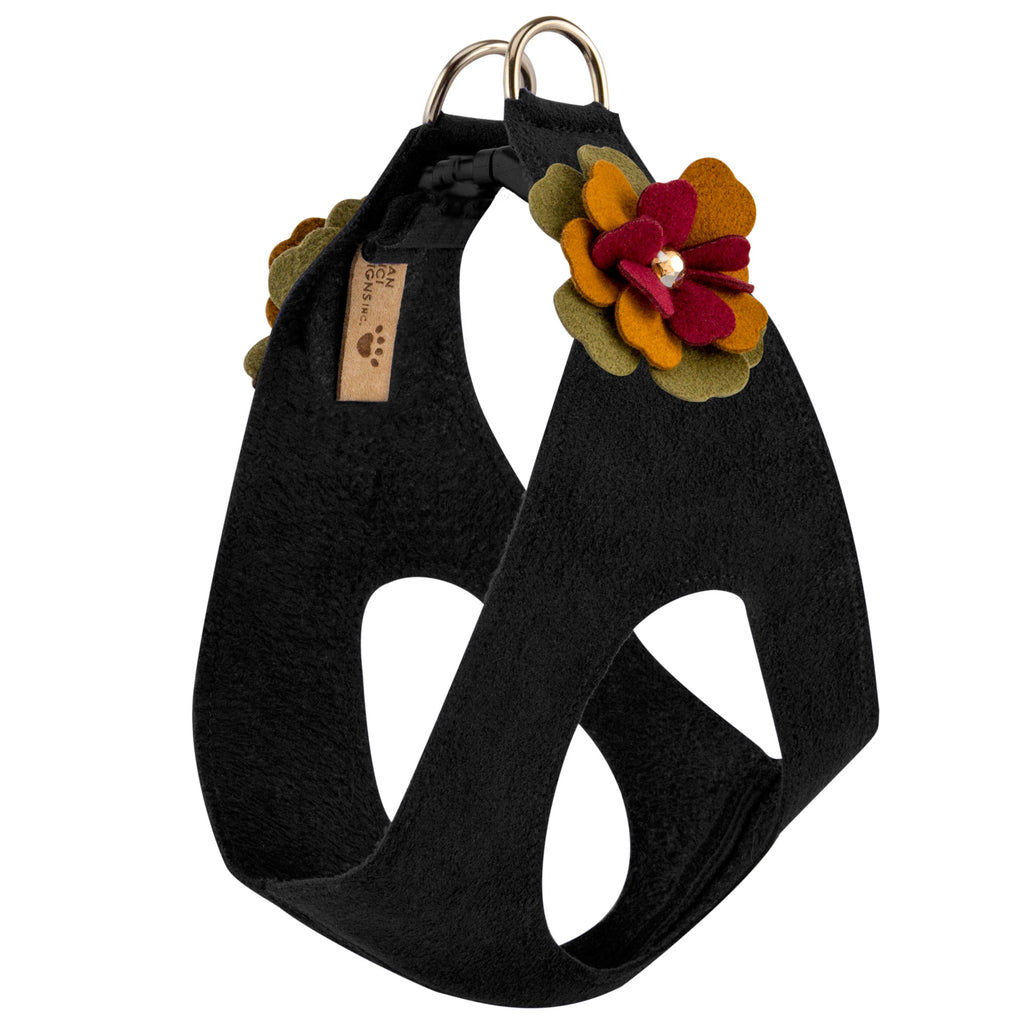 Autumn Flowers Step-In Below-The-Neck CHOKE FREE Luxury Designer UltraSuede Dog Harness