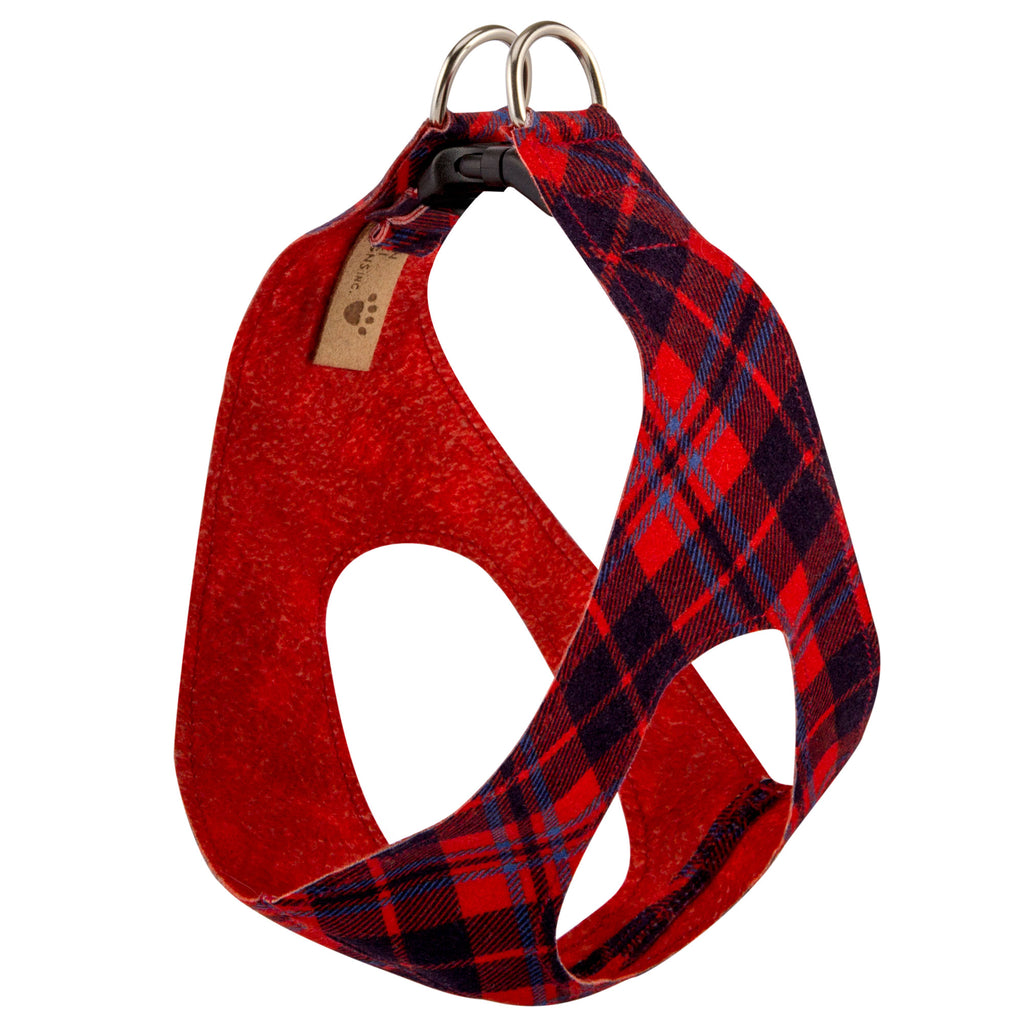 Scotty Chestnut Red Plaid Step-In Below-The-Neck CHOKE FREE Luxury Designer UltraSuede Dog Harness