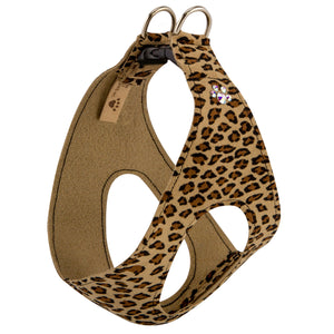 Cheetah Crystal Paws Step-In Below-The-Neck CHOKE FREE Luxury Designer UltraSuede Dog Harness