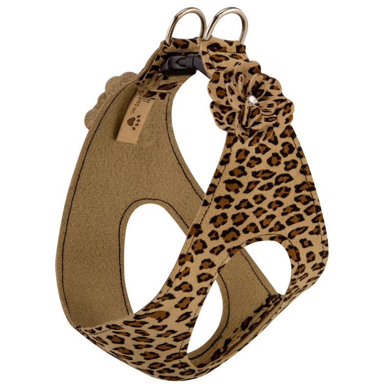 Cheetah Tinkies Garden Bow Step-In Below-The-Neck CHOKE FREE Luxury Designer UltraSuede Dog Harness