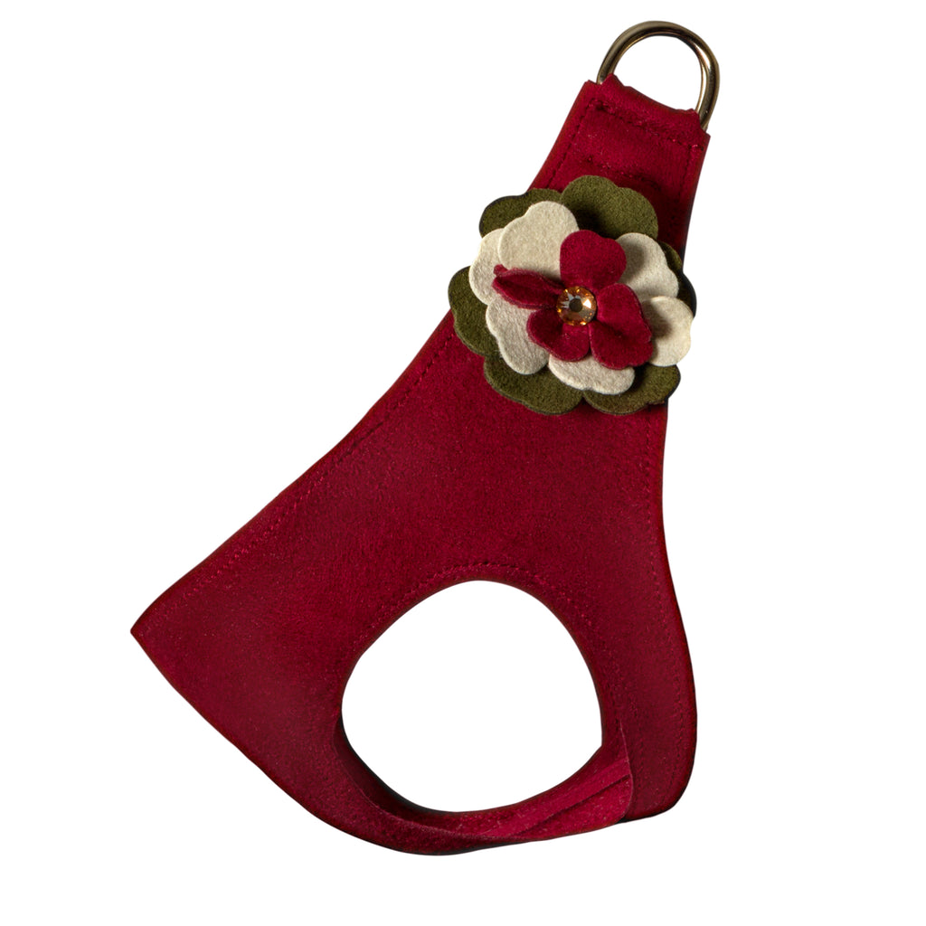 Falling Leaves Red Step-In Below-The-Neck CHOKE FREE Luxury Designer UltraSuede Dog Harness