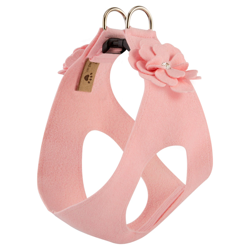 Tinkies Garden Puppy Pink Bow Step-In Below-The-Neck CHOKE FREE Luxury Designer UltraSuede Dog Harness