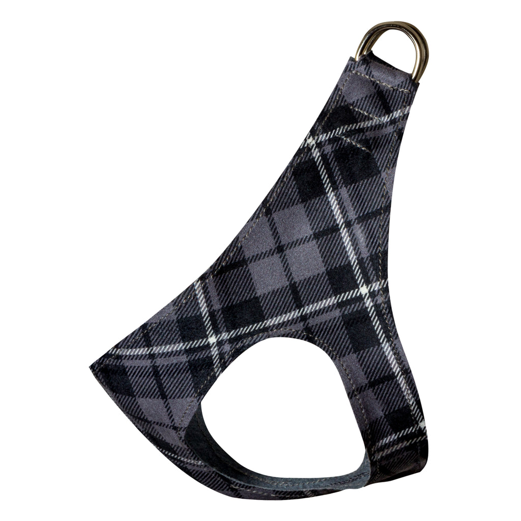 Scotty Charcoal Grey Plaid Step-In Below-The-Neck CHOKE FREE Luxury Designer UltraSuede Dog Harness