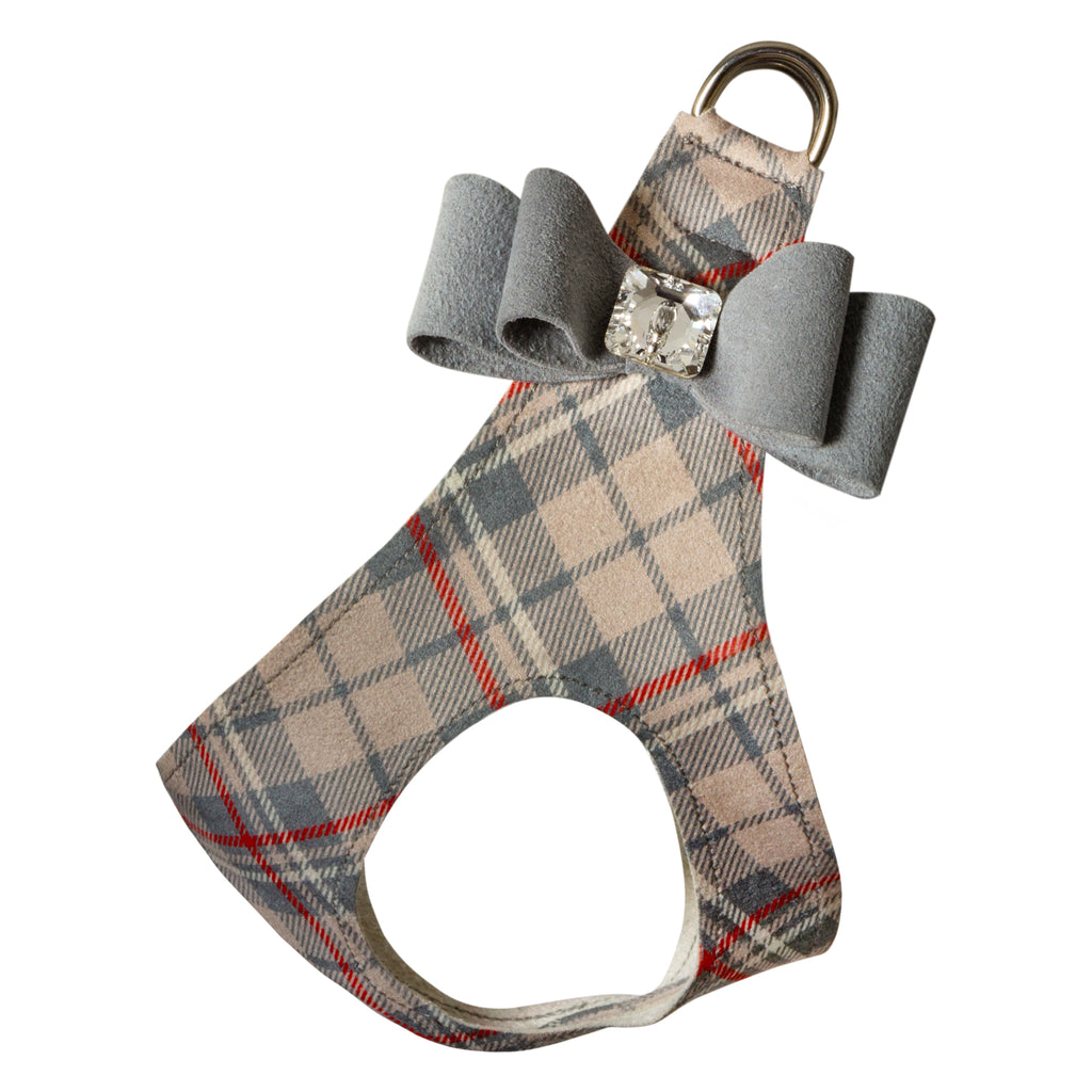 Scotty Big Bow Beige Plaid Step-In Below-The-Neck CHOKE FREE Luxury Designer UltraSuede Dog Harness