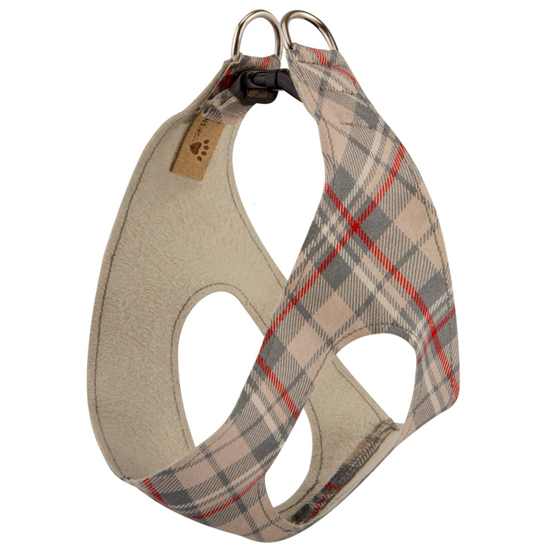 Scotty Beige Plaid Step-In Below-The-Neck CHOKE FREE Luxury Designer UltraSuede Dog Harness