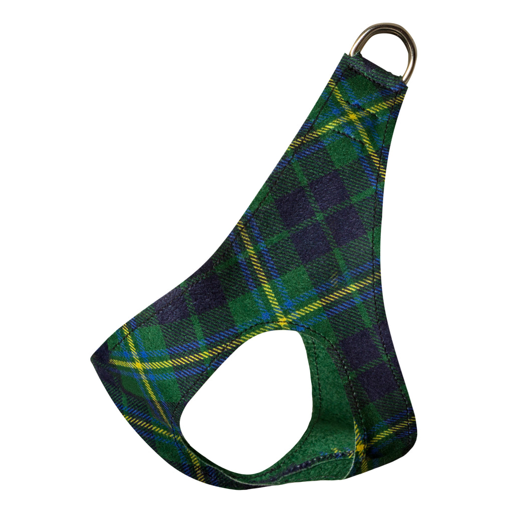 Scotty Forrest Green Plaid Step-In Below-The-Neck CHOKE FREE Luxury Designer UltraSuede Dog Harness