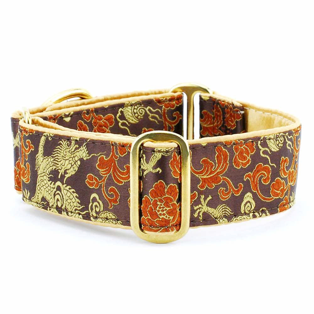 Dragon Flowers & Foliage Brown Silk Brocade Designer Handmade Dog Collar
