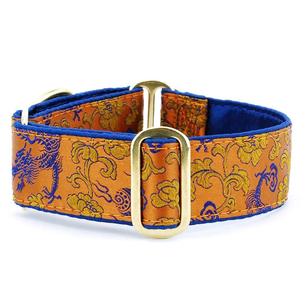Dragons & Flowers Copper Silk Brocade Blue Satin Lining Luxury Designer Handmade Dog Collar