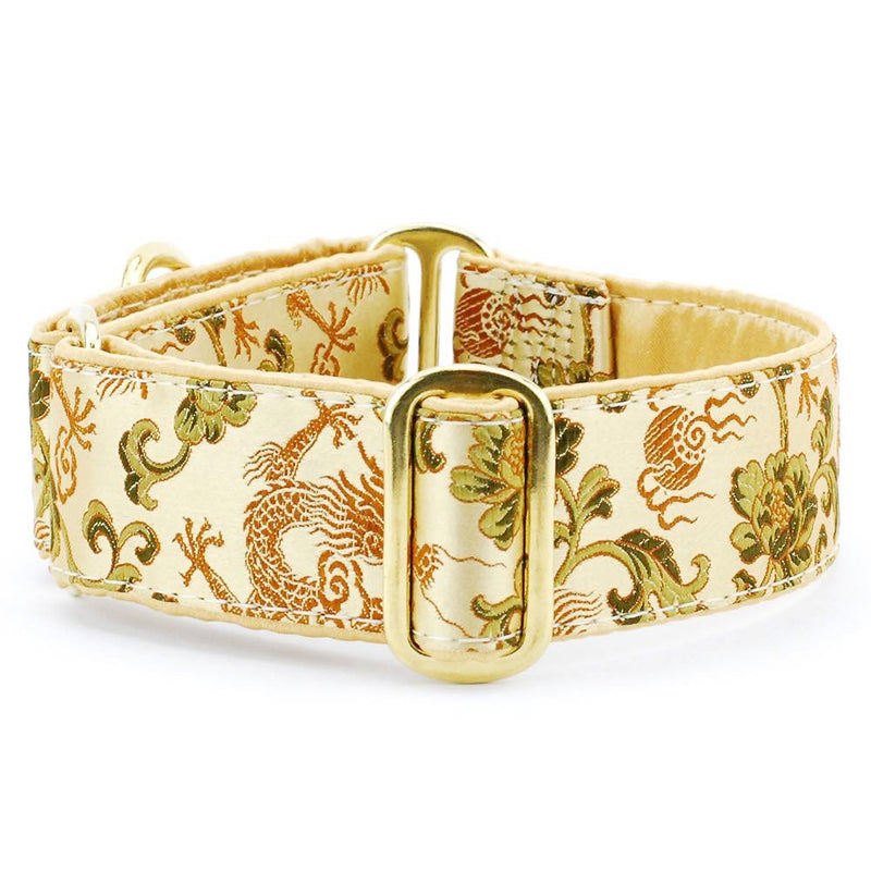 Dragon & Flowers Bronze Silk Brocade Gold Satin Lining & Brass Hardware Luxury Designer Handmade Dog Collar