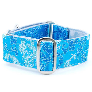 Dragon-Inspired Turquoise Silk Brocade Silver Satin-Lined Luxury Designer Handmade Dog Collar