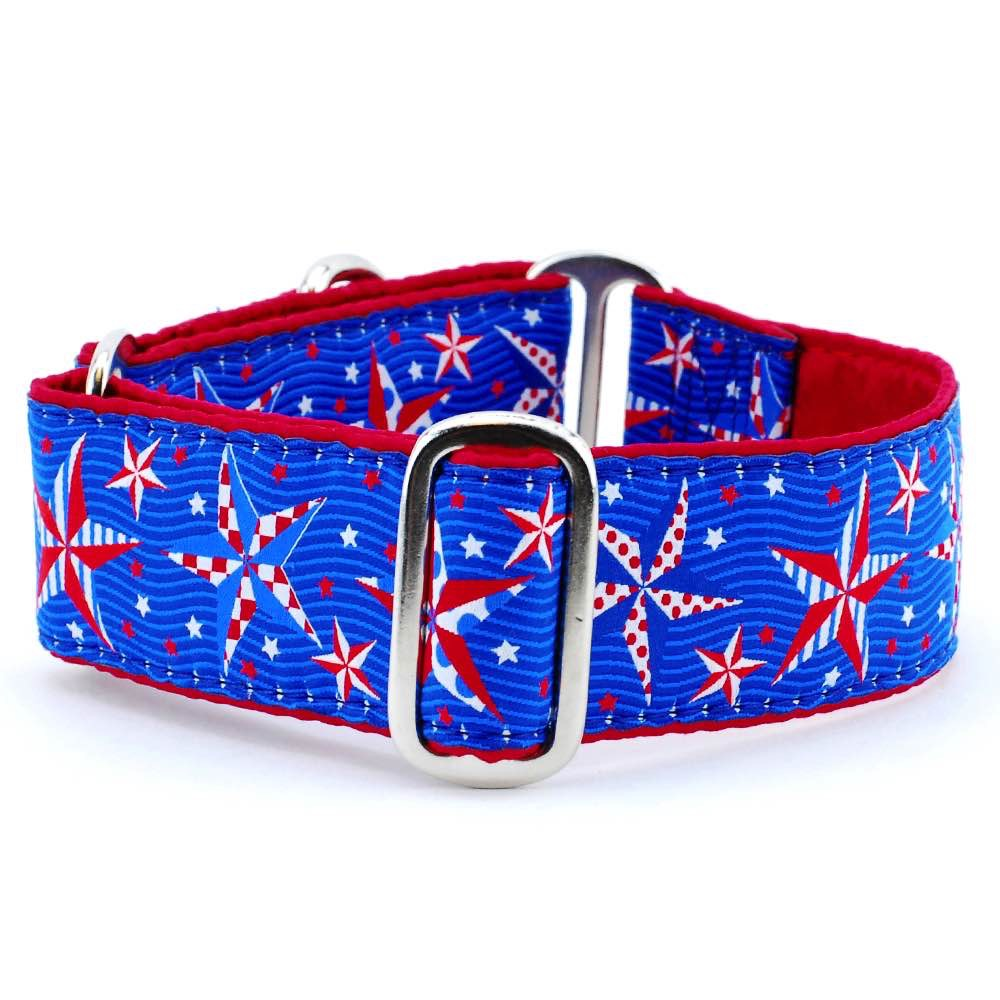 Eclectic Stars USA American Patriotic Inspired Designer Luxury Handmade Dog Collar