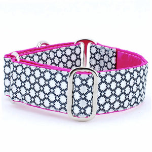 Lattice Pink Silk Brocade Designer Luxury Handmade Dog Collar