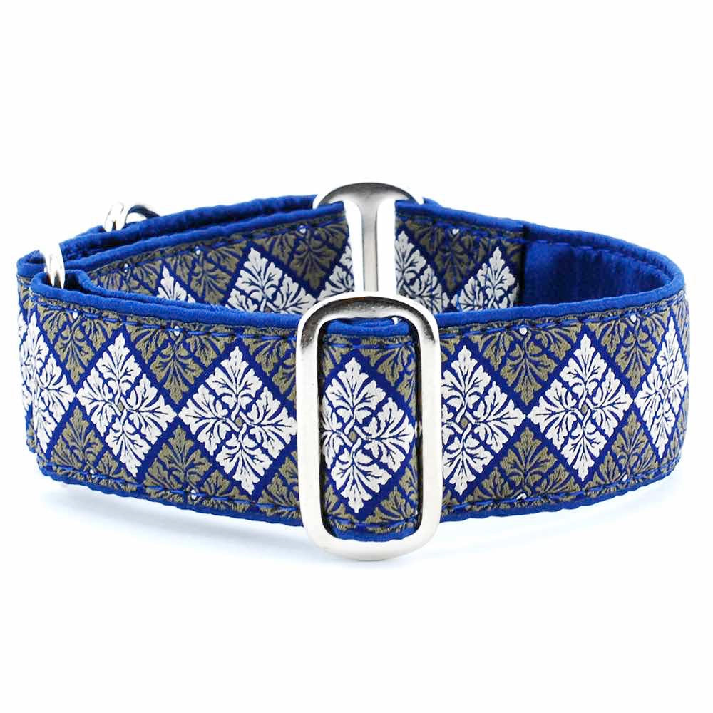 Leaf Tile Pattern Navy Blue Satin Lining Luxury Designer Handmade Dog Collar