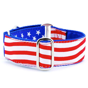 Stars and Stripes USA Patriotic American Designer Luxury Handmade Dog Collar