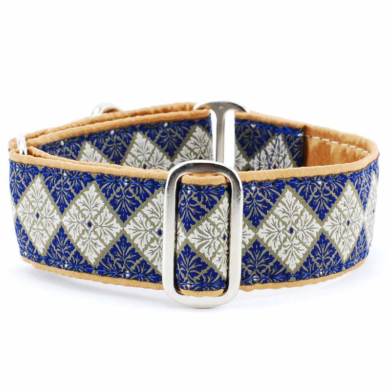 Tile Navy Blue Reversible Dark Gold Satin-Lining Premium Luxury Designer Handmade Dog Collar