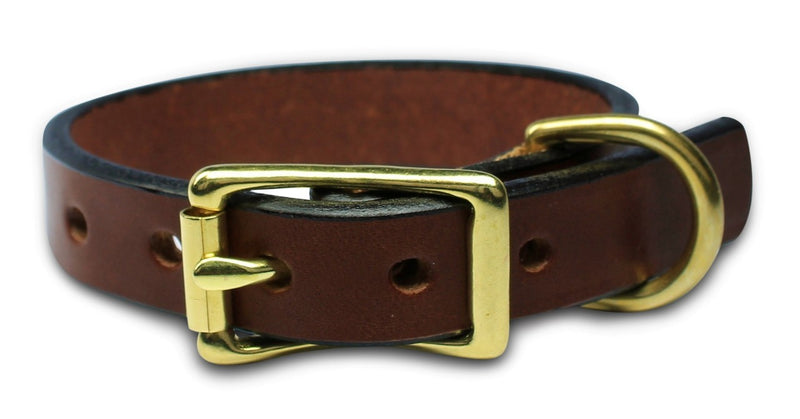 Vegetable Tanned Full Grain 100% Genuine Leather Anti-Rust American Bench Craft Designer Dog Collar