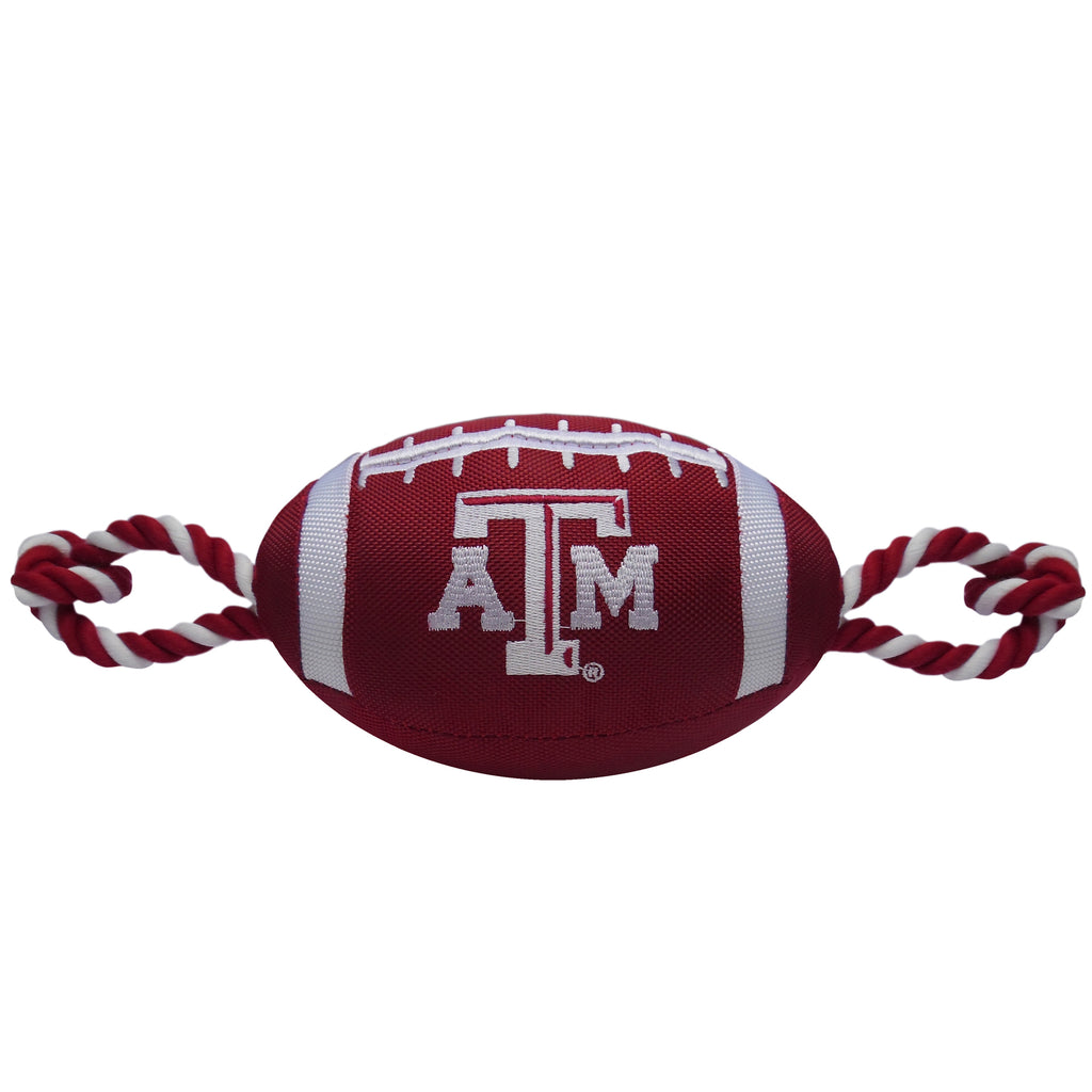 Texas A&M Nylon Football Squeaker Tug Rope Dog Toy