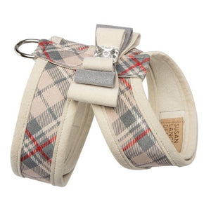 Scotty Tinkie Doe Beige Plaid with Genuine Swarovski Crystal Button UltraSuede Designer Dog Harness