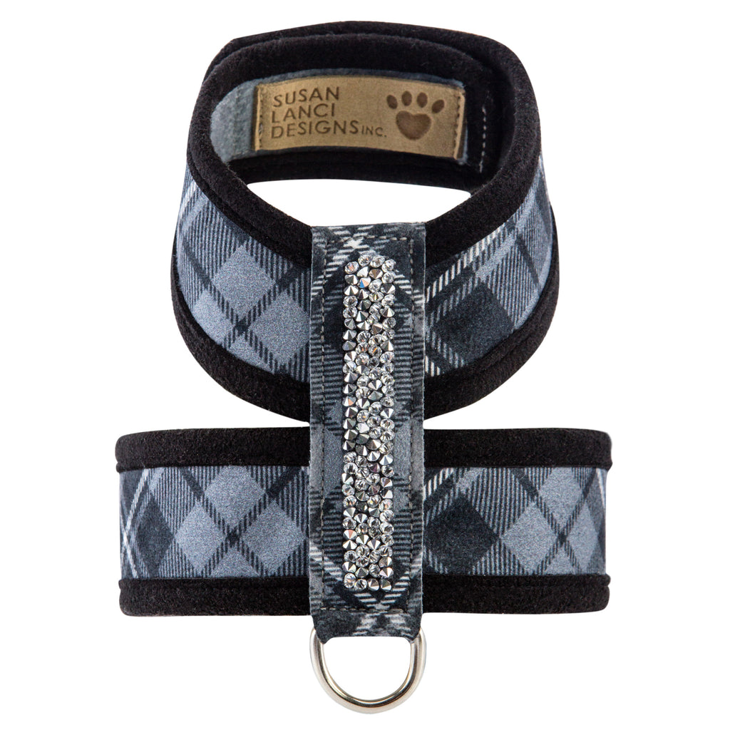 Scotty Tinkie Charcoal Grey & Black Plaid with Genuine Swarovski Crystals UltraSuede Dog Harness