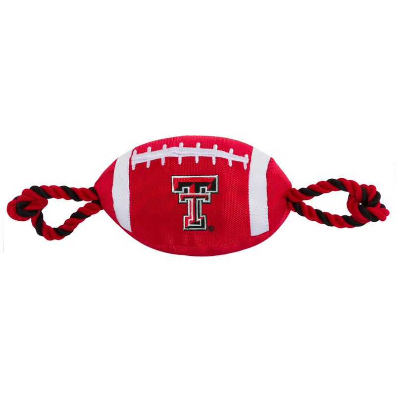 Texas Tech Nylon Football Squeaker Tug Rope Dog Toy