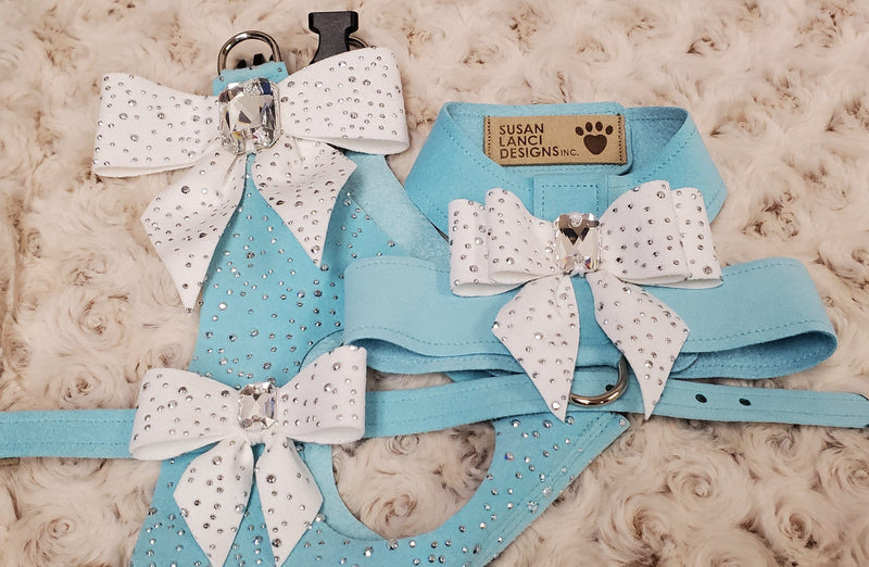 Tiffi's Gift Blue Genuine Swarovski Crystals Step-In Below-The-Neck CHOKE FREE Luxury Designer UltraSuede Dog Harness